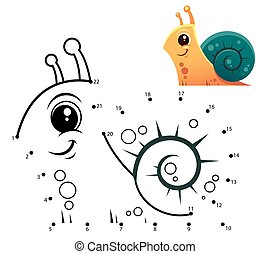 Snail - Education Numbers game. Dot to dot game. Snail ...