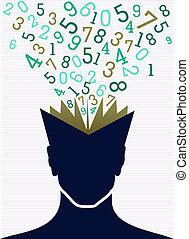 Education numbers human head book back to school concept.