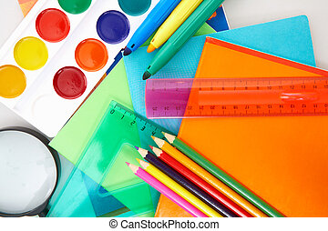 Education objects - Close-up of various objects necessary in...