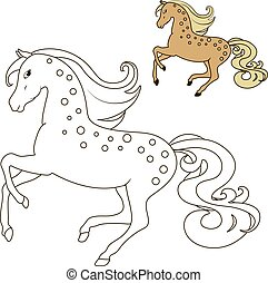 horse in motion coloring book for children