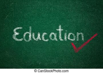 Education on green chalkboard