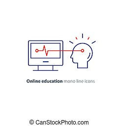 Education on internet, learning course, desk top computer,...
