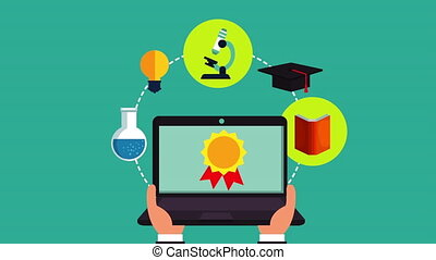 education on line with laptop animation