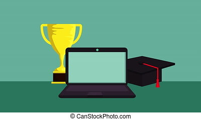 education on line with laptop technology animation