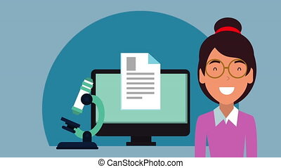 education on line with student girl and desktop animation -...