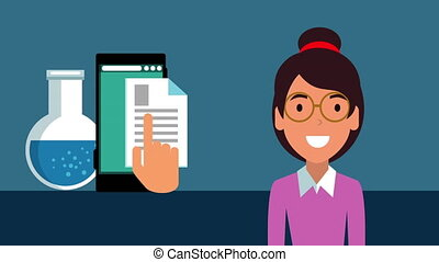 education on line with student girl and smartphone animation...