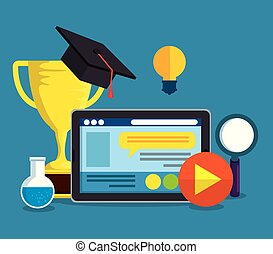 education on line with tablet vector illustration design