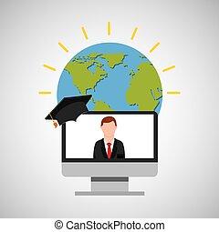 education online global man teacher lesson