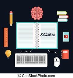 education online icons study reading digital
