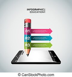 education online infographic with smartphone