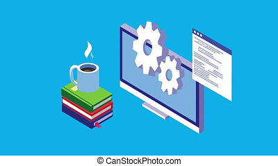 education online technology with desktop ,4k video animated