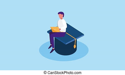 education online with male student using laptop