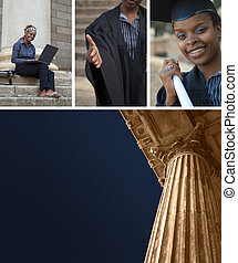 Education or court columns with college graduate collage