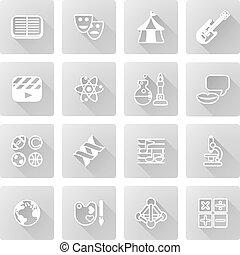 Education or quiz subject icons