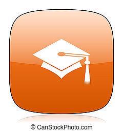education orange square web design glossy icon - education...