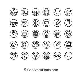 Education outline icon set.