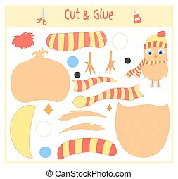 Education paper game for the development of preschool children. Cut parts of the image and glue on the paper. Vector illustration. Use scissors and glue to create the applique.owl