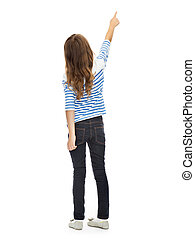 girl pointing finger at something invisible