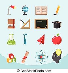 education, plat, icône, conception, ensemble