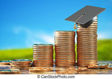 Education price and costs growth. Savings for education. Graduation cap on stacks of golden coin.