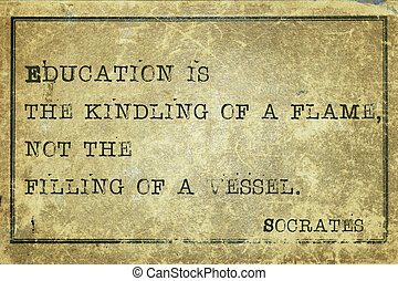 Education print - Education is the kindling of a flame -...