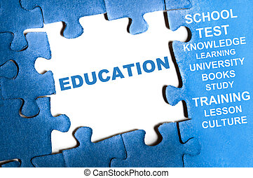 Education puzzle - Education blue puzzle pieces assembled