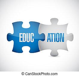 education puzzle pieces assabled.