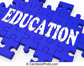 Education Puzzle Showing University Studies And Teaching