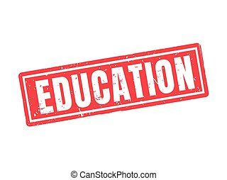 education red stamp style