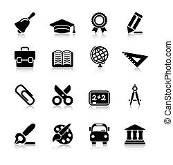 education, reflet, icônes