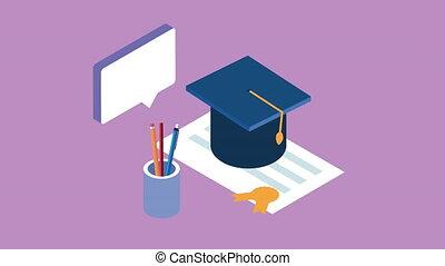 education, remise de diplomes, ligne, technologie, chapeau