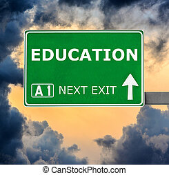 EDUCATION road sign against clear blue sky
