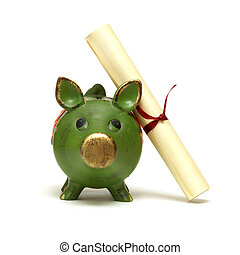 Education Savings - An isolated shot of a piggy bank and...