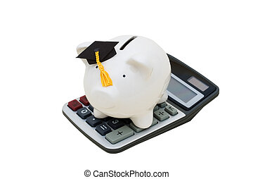 Education Savings - Piggy bank with graduation cap and...