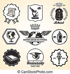 Education school academy university vintage symbol emblem label collection