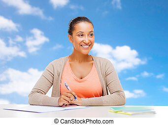 african american student girl with notebook