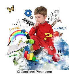 A young boy is sitting on Earth with different science, math and physics icons around him on a white background. Use it for a school or learning concept.