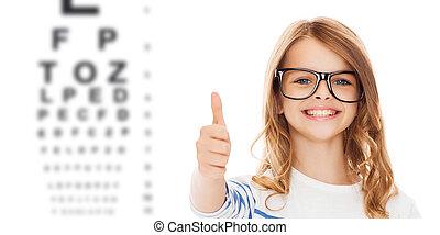 little girl with black eyeglasses - education, school, ...
