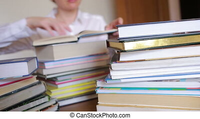 Education school concept. Closeup female girl in college...