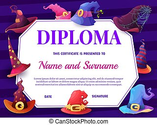 Education school diploma with cartoon witch hats
