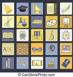 Education School Flat Icon Set