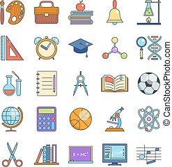 Education school icons set line art isolated vector illustration