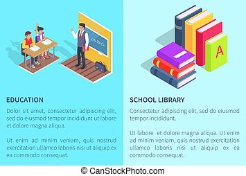 Education School Library Posters Students and Book