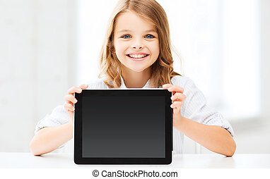 girl with tablet pc at school