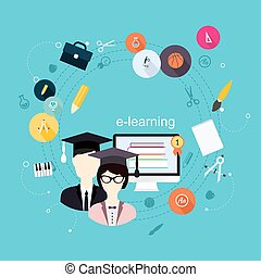 Education school university e-learning flat poster with monitor and icons set vector illustration