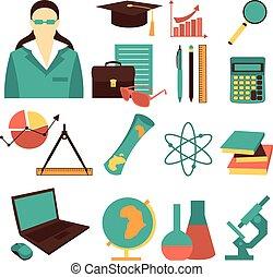 Education school university learning flat icon set