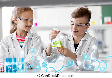 kids with test tubes studying chemistry at school