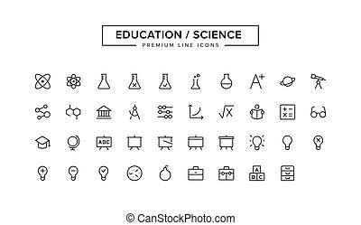 Education Science line icon set