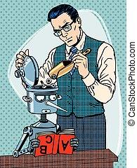 Education scientist teacher robot student pop art retro...