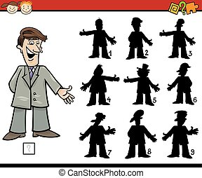 Cartoon Illustration of Education Shadow Matching Game for Preschool Children